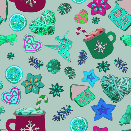 Christmas, New Years, Valentines Day. Set for decorating fabric or wrapping paper. Background for Valentines Day, Mothers Day, New Year Zdjęcie Seryjne