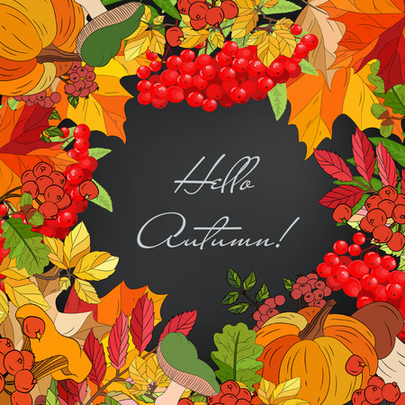 Autumn card with leaves and berries
