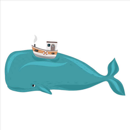 A large blue whale with a boat on its back. Fabulous vector illustration. Keith hipster, tropical fantasy Vector Illustration