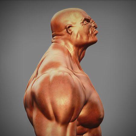 deltoids: muscle man figure side view Stock Photo