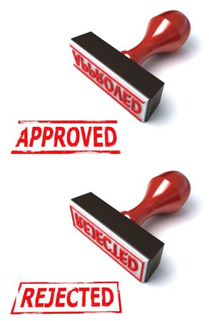 rubberstamp: 3d stamp approved rejected Stock Photo