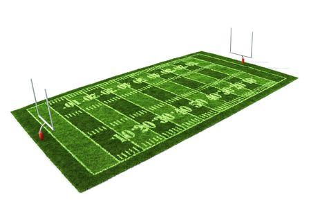 football play: Campo di football americano isolato su sfondo bianco