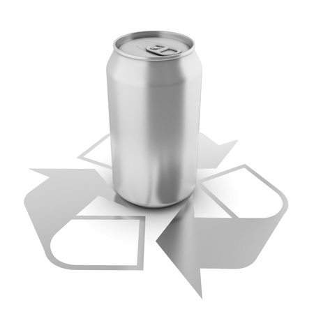 isolated aluminium can over recycle sign  photo