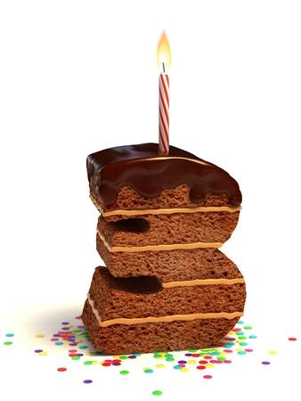 torta con candeline: numero tre di compleanno a forma di torta al cioccolato con candela accesa e coriandoli