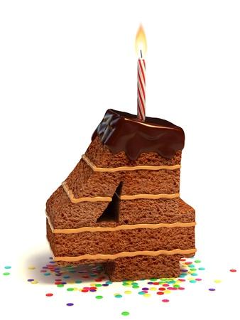 pasteles de cumplea�os: el n�mero cuatro de chocolate en forma de pastel de cumplea�os con vela encendida y confeti Foto de archivo