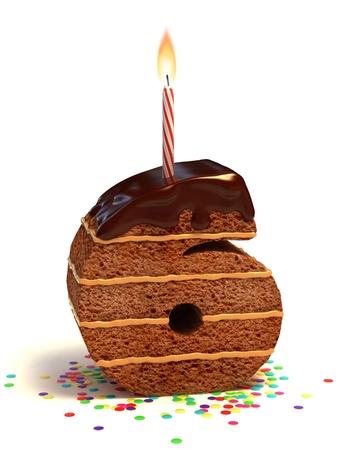 nummer zes vormige chocolade verjaardagstaart met kaars en confetti