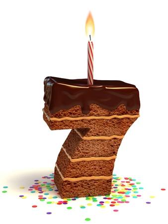 torta con candeline: numero sette di compleanno a forma di torta al cioccolato con candela accesa e coriandoli