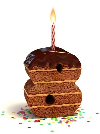 torta con candeline: numero otto di compleanno a forma di torta al cioccolato con candela accesa e coriandoli Archivio Fotografico