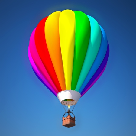 3d rainbow: colorful air balloon against blue sky 3d illustration
