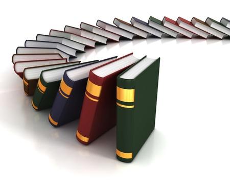 many books on the white background  Stock Photo