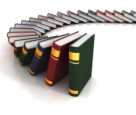 commencement: many books on the white background  Stock Photo