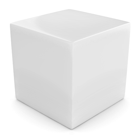 white 3d cube isolated over white  photo