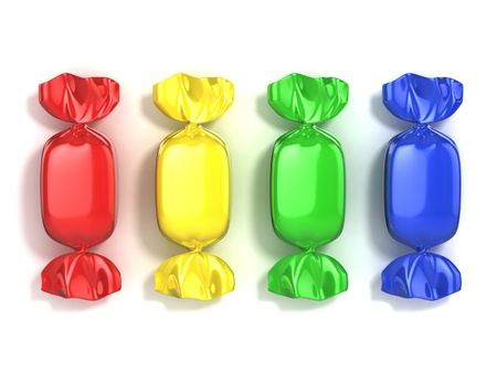 bonbons: colorful candies on white background
