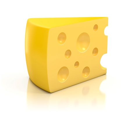 A peace of cheese over white background 3d illustration  illustration
