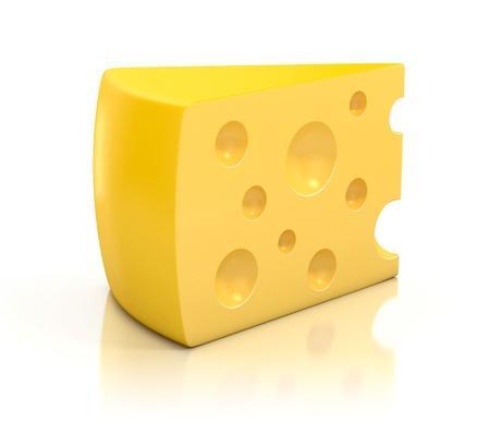 queso rallado: Una paz de queso sobre fondo blanco ilustración 3d