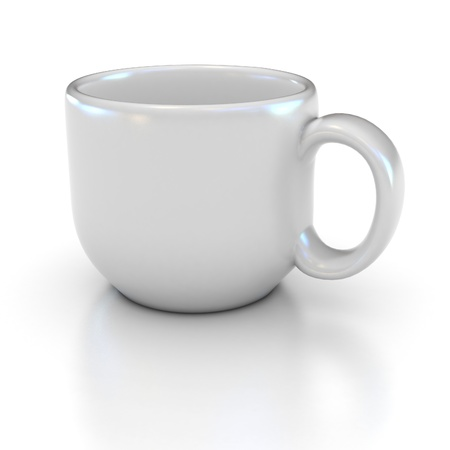 blank white coffee cup on the white background suitable for placing logo or your text on it  photo