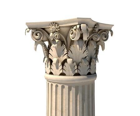Corinthische kolom kapitaal op wit wordt geïsoleerd