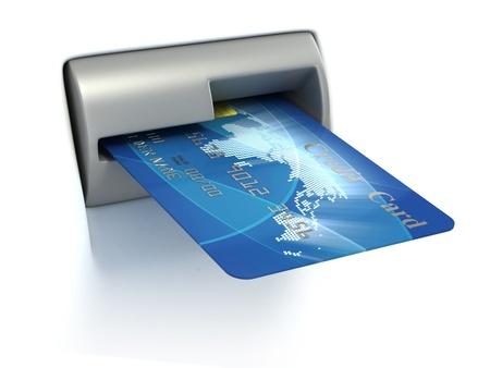 banco mundial: Inserci�n de tarjeta de cr�dito en cajeros autom�ticos Foto de archivo