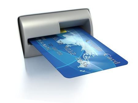 money transfer: Inserting credit card into ATM
