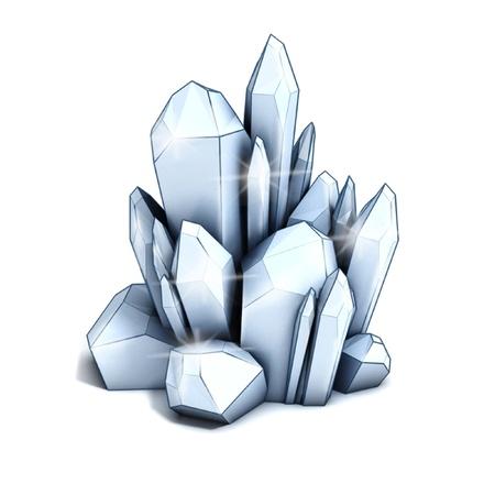crystallization: crystal 3d illustration