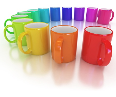 colorful cups on the white background  Stock Photo