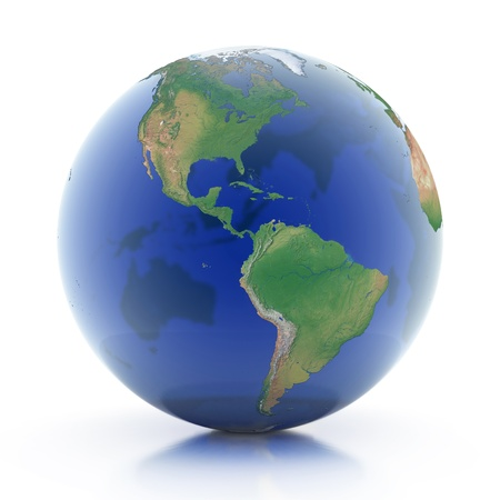 west europe: transparent globe 3d illustration - planet earth isolated over white background