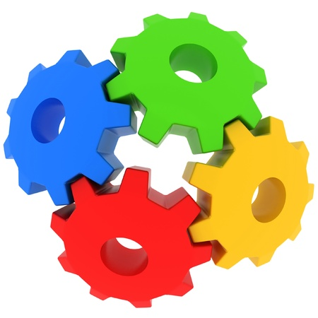 cog wheel: 3d colorful gears on white background