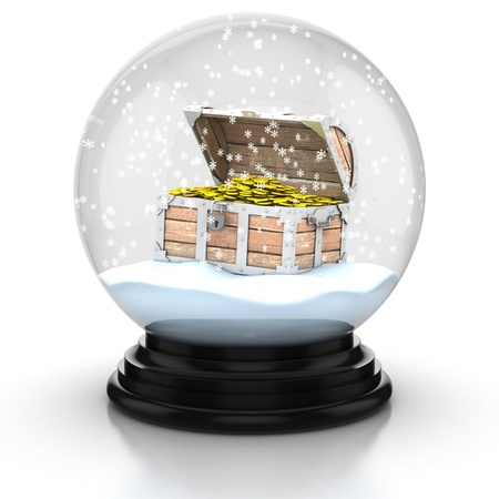 toy chest: open treasure chest within snow dome 3d illustration  Stock Photo