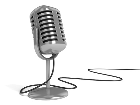 live on air: microphone 3d illustration - radio microphone with on the air sign on top isolated over white background  Stock Photo