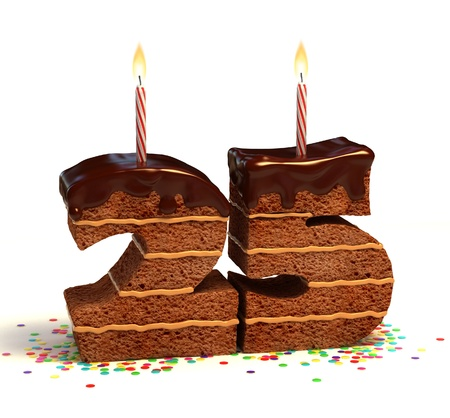 Chocolate birthday cake surrounded by confetti with lit candle for a twenty-fifth birthday or anniversary celebration  Stock Photo