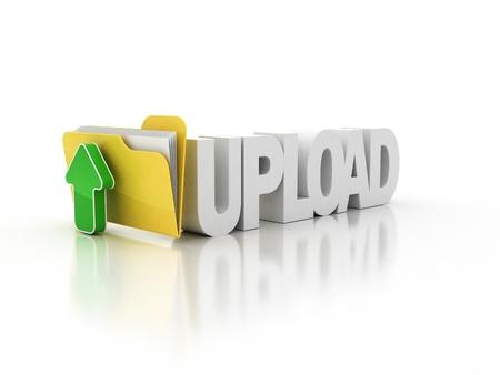 downloading: upload folder icon 3d illustration