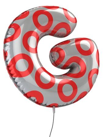 red balloons: letter G balloon 3d illustration