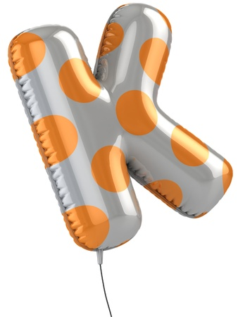 letter k: letter K balloon 3d illustration