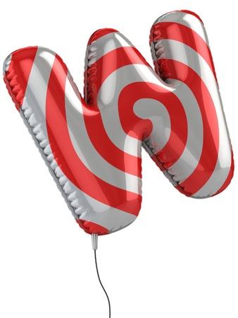 letter W balloon 3d illustration  illustration