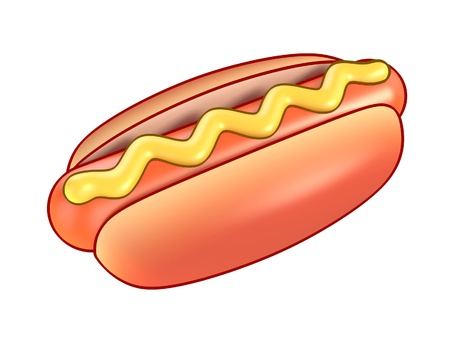 hot dog: hot dog with mustard 3d illustration isolated on the white