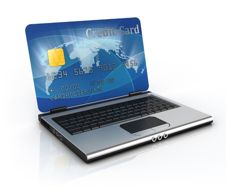 on line shopping 3d concept - credit card laptop  photo