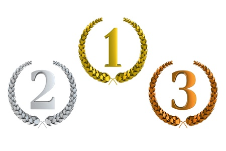 gold silver bronze: first second and third prize 3d laurels isolated on white background Stock Photo