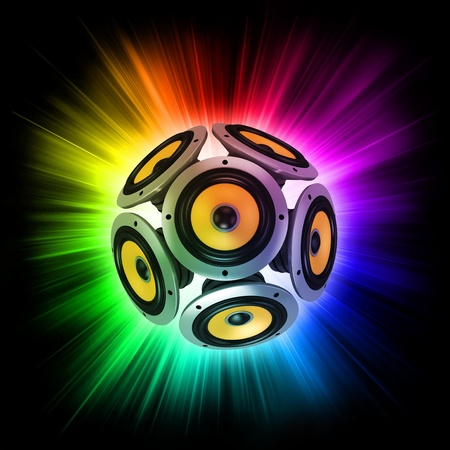 sub woofer: loud speakers over the colorful rays of light  Stock Photo
