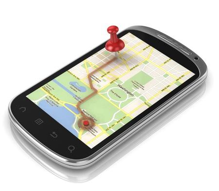 mapa conceptual: El GPS más inteligente del teléfono - móvil GPS concepto de 3d Foto de archivo