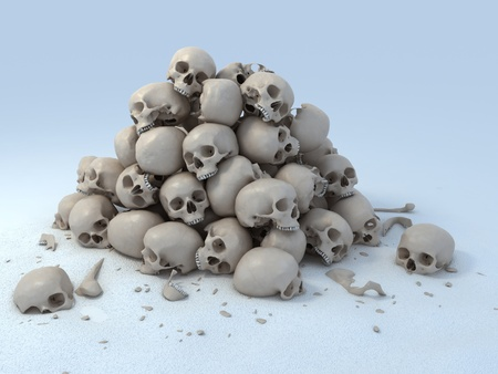 heap: pile of skulls 3d illustration