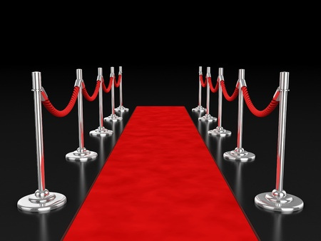 red carpet 3d illustration over dark background  illustration