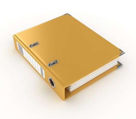 yellow ring binder isolated on the white background  photo