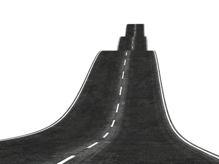 wavy 3d road disappearing over the horizon photo