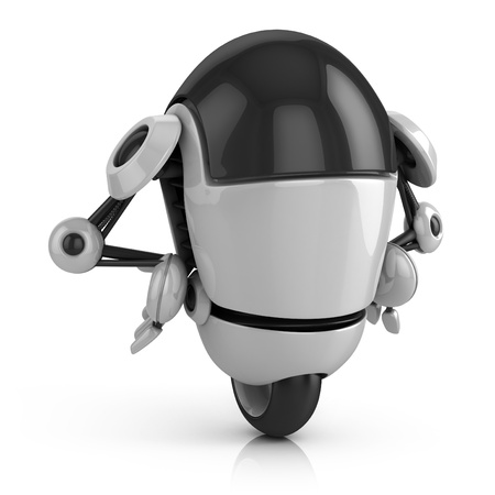 retro robot: funny robot 3d illustration isolated on the white background