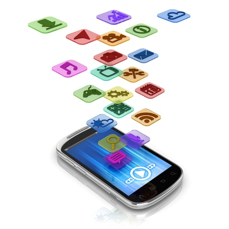 touch phone: app 3d concept - smart phone application icons
