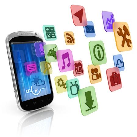 smart phone: smart phone application icons - app 3d concept