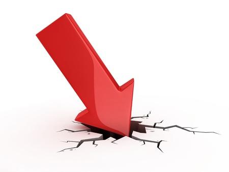 einsturz: roter Pfeil Crash - Konkurs, finanzielle Zusammenbruch, Depressionen, Durchfall, Geld Krise 3D-Konzept Lizenzfreie Bilder
