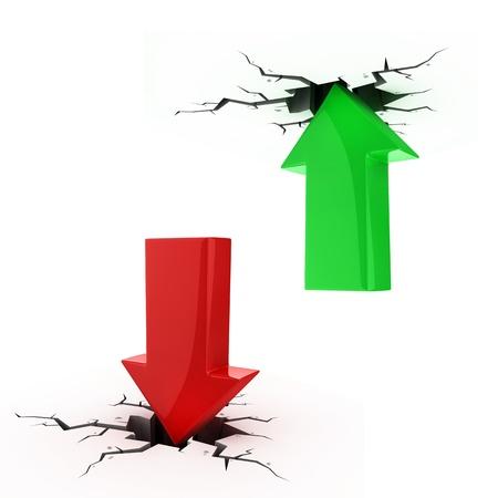 derrumbe: flechas arriba y abajo romper el piso y el techo - quiebra, colapso financiero, la depresi�n, la recesi�n, el fracaso, la crisis de dinero, el �xito, el crecimiento, la inflaci�n, el progreso, los conceptos de beneficio 3d
