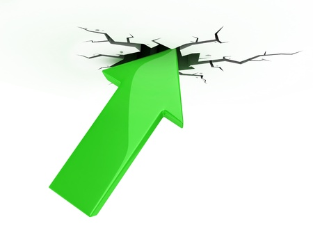 break up: success, growth, profit 3d icon - green arrow break up the ceiling