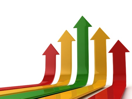 upward graph: abstract arrows success 3d concept  Stock Photo